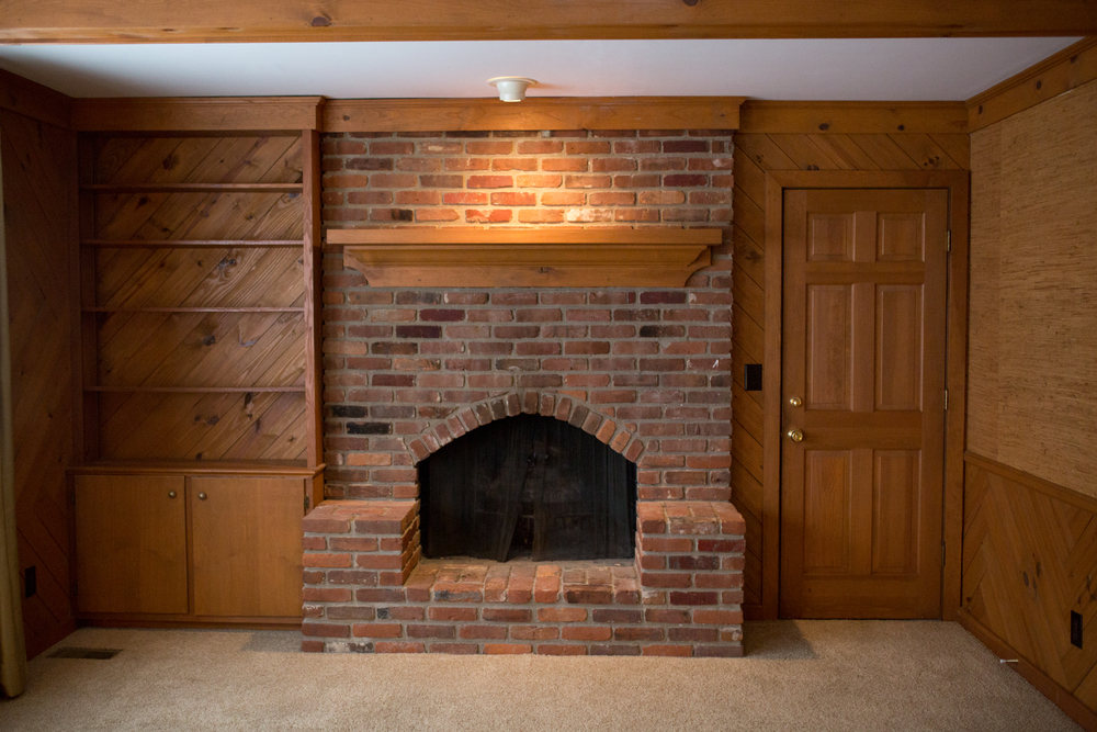 We love our fireplace. Just getting a new mantel here.