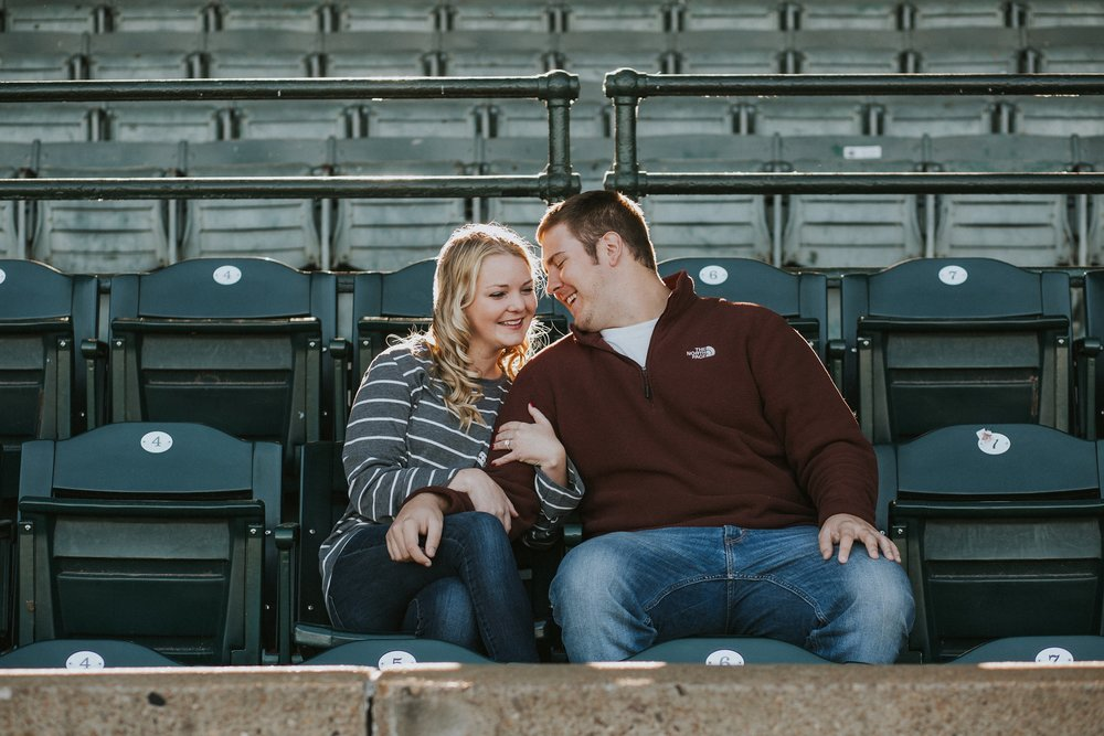 Fun couple photos at Bosse Field in Evansville Indiana by Louisville area Wedding Photographer