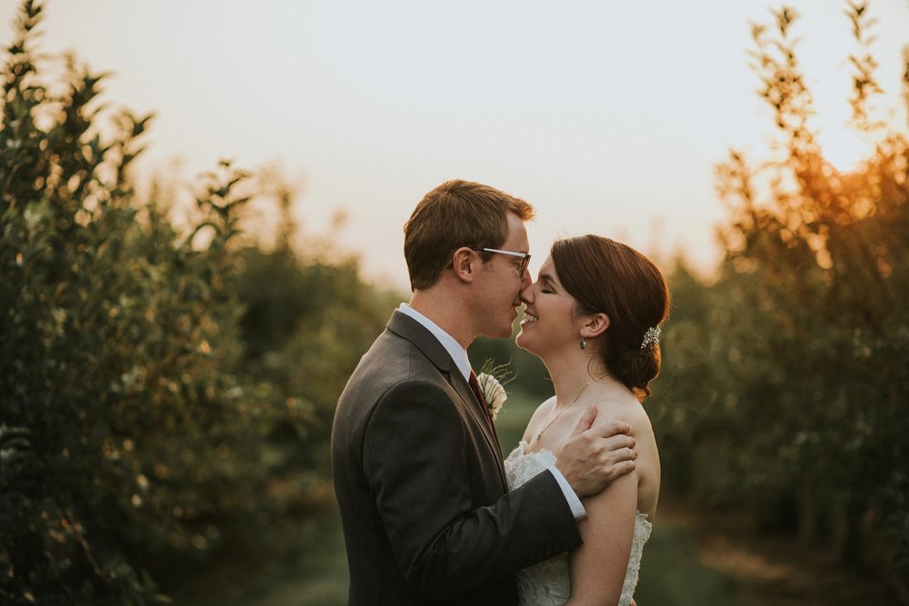 Bride and Groom at Sunset in the vineyards at Hubers in Southern Indiana
