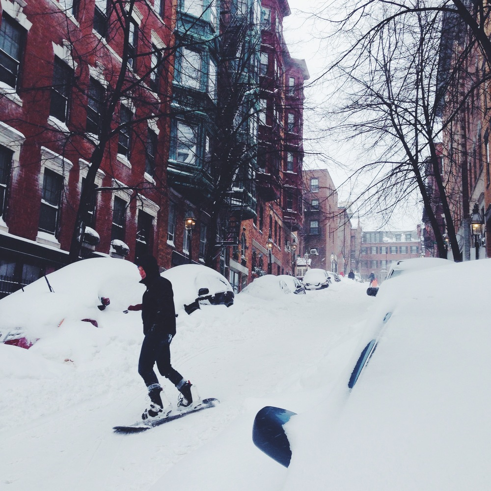 Excitement on Beacon Hill. The first blizzard = taking your boards and sleds to the streets!