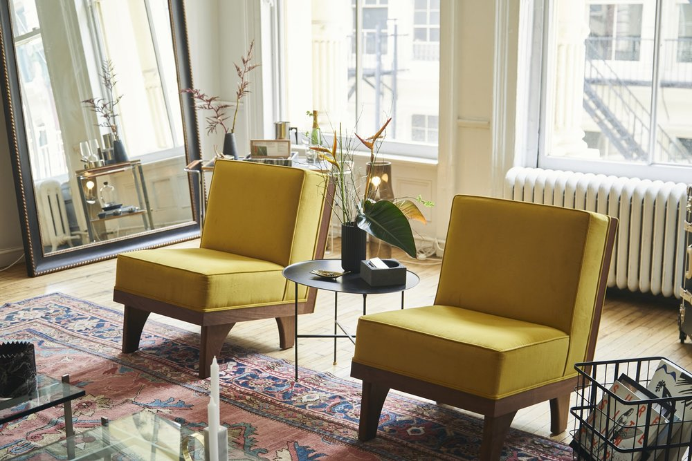 Luteca_MvB_Line-Lounge Chair_Yellow-Velvet_The Line Apartment.jpg