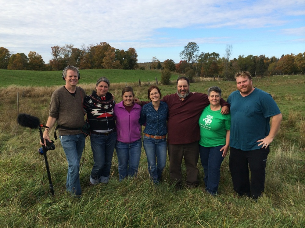 Left to right: Director Doug Pray, Farms Not Factories' Mary Dougherty, The O'Dovero family: Faye, Angelena, Don and Wendy, and Cinematographer Edwin Stevens.  At the O'Dovero farm in Mellen, Wisconsin.