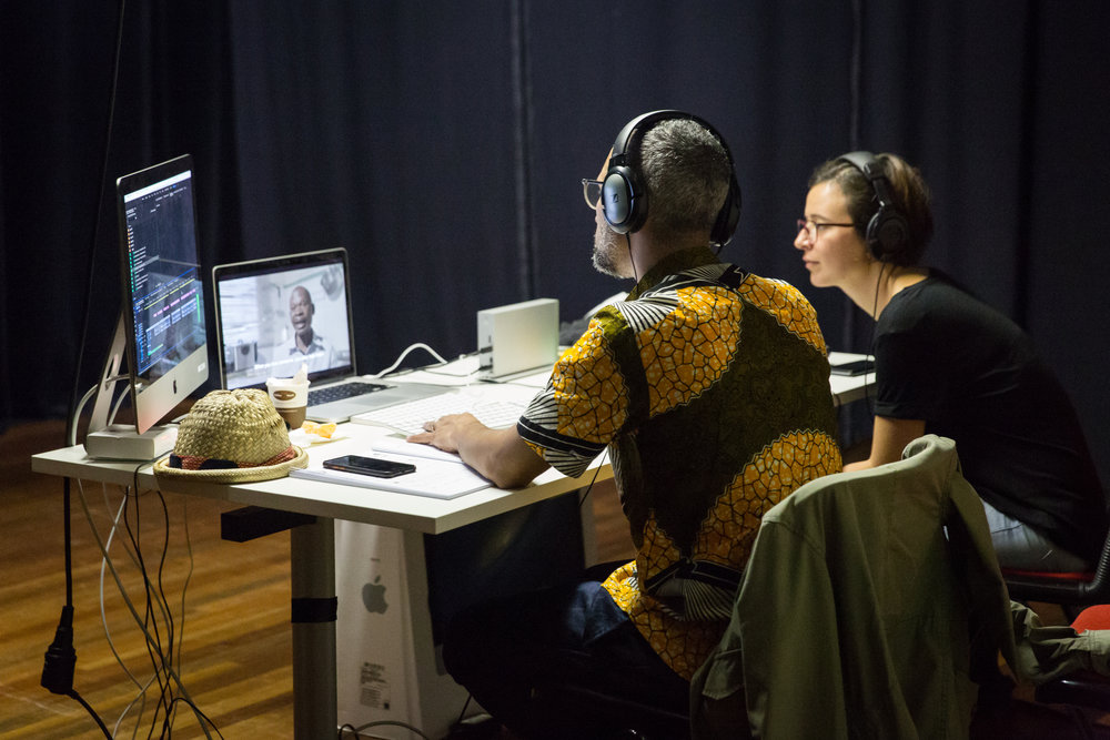 Sara and Khalid in the edit room during the IDFAcademy Summer School