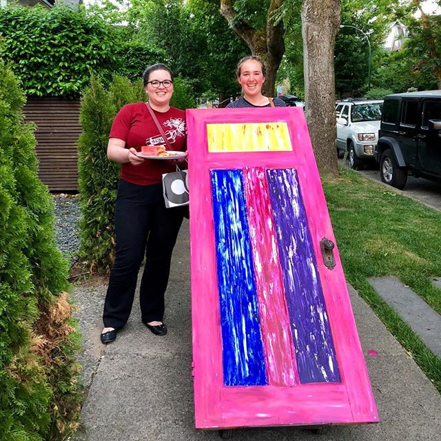 @annaleas.matthew and @sophmaxime heading back from our final panel meeting of the year @thecultch! Featuring an a-door-able art piece and matching homemade cake 🚪 🍰 💥  #ignite2018 #theatre #art #dance #poetry #music #vancitybuzz #vancityart #yvrart #emergingartist #newart #vancouver #thecultch #yourcultch #eastvan #ignite2018 #cake #avocadotoast #dapperflapper #cozycampfire #floralfriday #dynamitenight #artgallery #selfportrait #cake