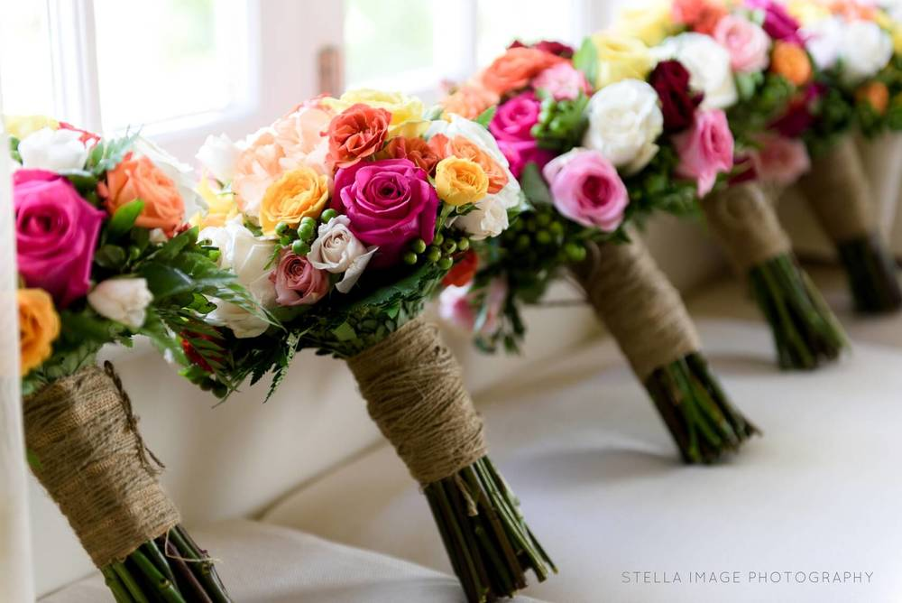 Pink and orange flower bouquets.