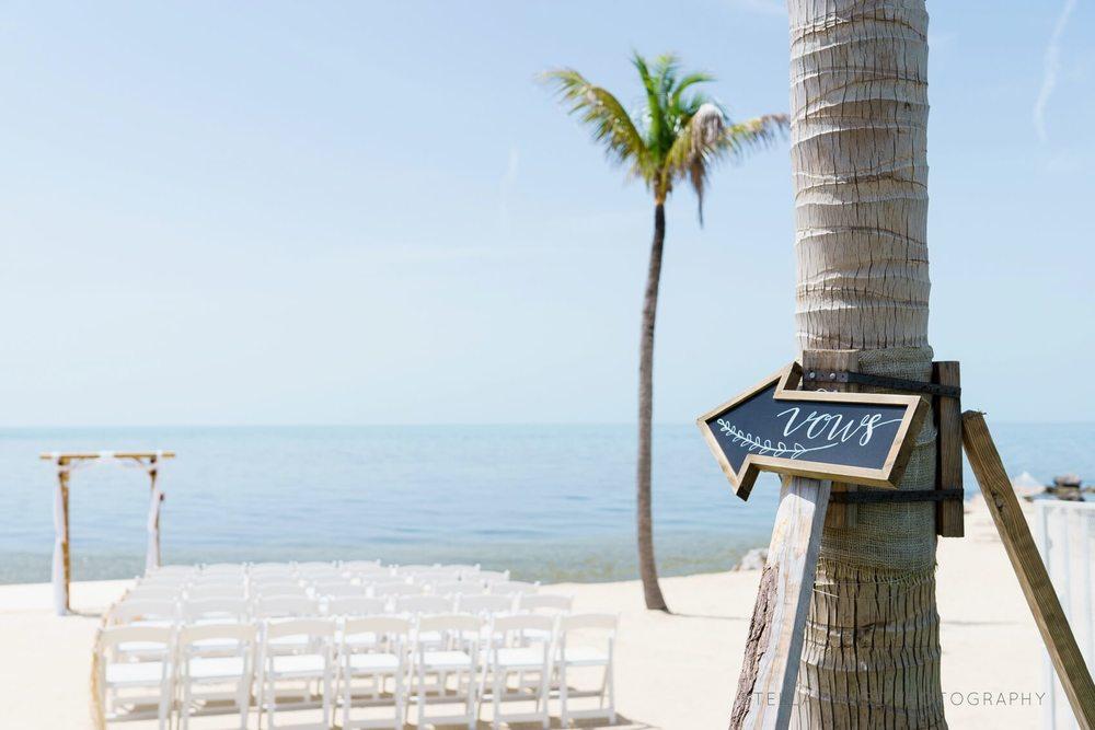 Simple, classy, beach wedding set up in key west.