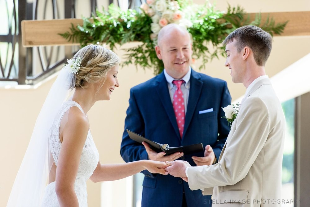 Jacob and Julia exchange rings at Family Church Gardens