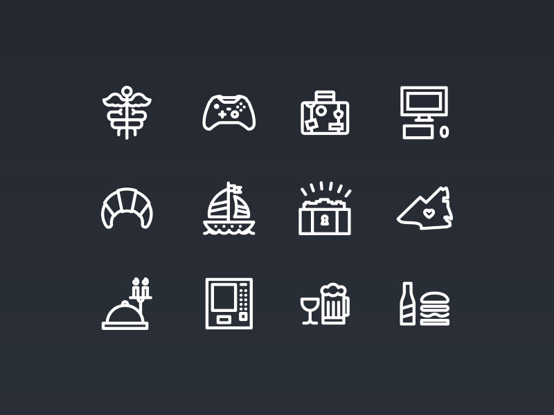 Perk Icons Edgar Vargas, dribbble.com Here's an initial set of icons designed for the jobs section of a website we're working on. WIP Sweet icons