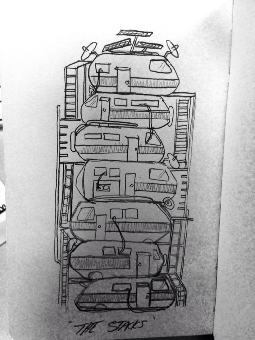 "Friday sketch! Reading #ReadyPlayerOne by @erniecline this is my quick version of ""The Stacks"" our homes in 2044"