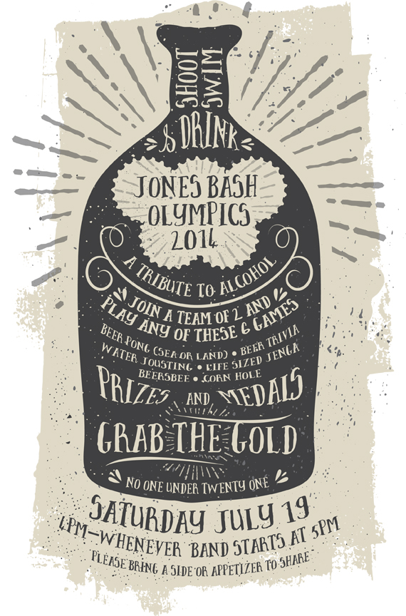 Poster for the Jones Bash Olympics 2014 - A Tribute to Alcohol This is a design I did for a co-workers annual party. Still in progress. These alcohol Olympics feature games such as Beer Trivia. I was inspired by the history of beer/alcohol which led to this vintage design. The font is called Brave and was purchased on Creative Market.