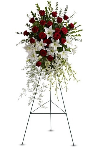 Lily and rose tribute spray $184.95 -