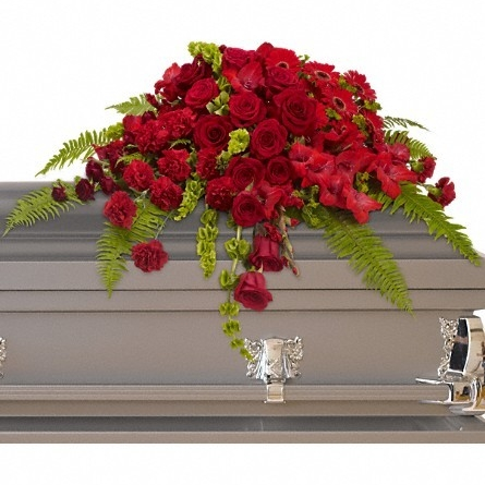 Red Rose Sanctuary Casket Spray $205 -