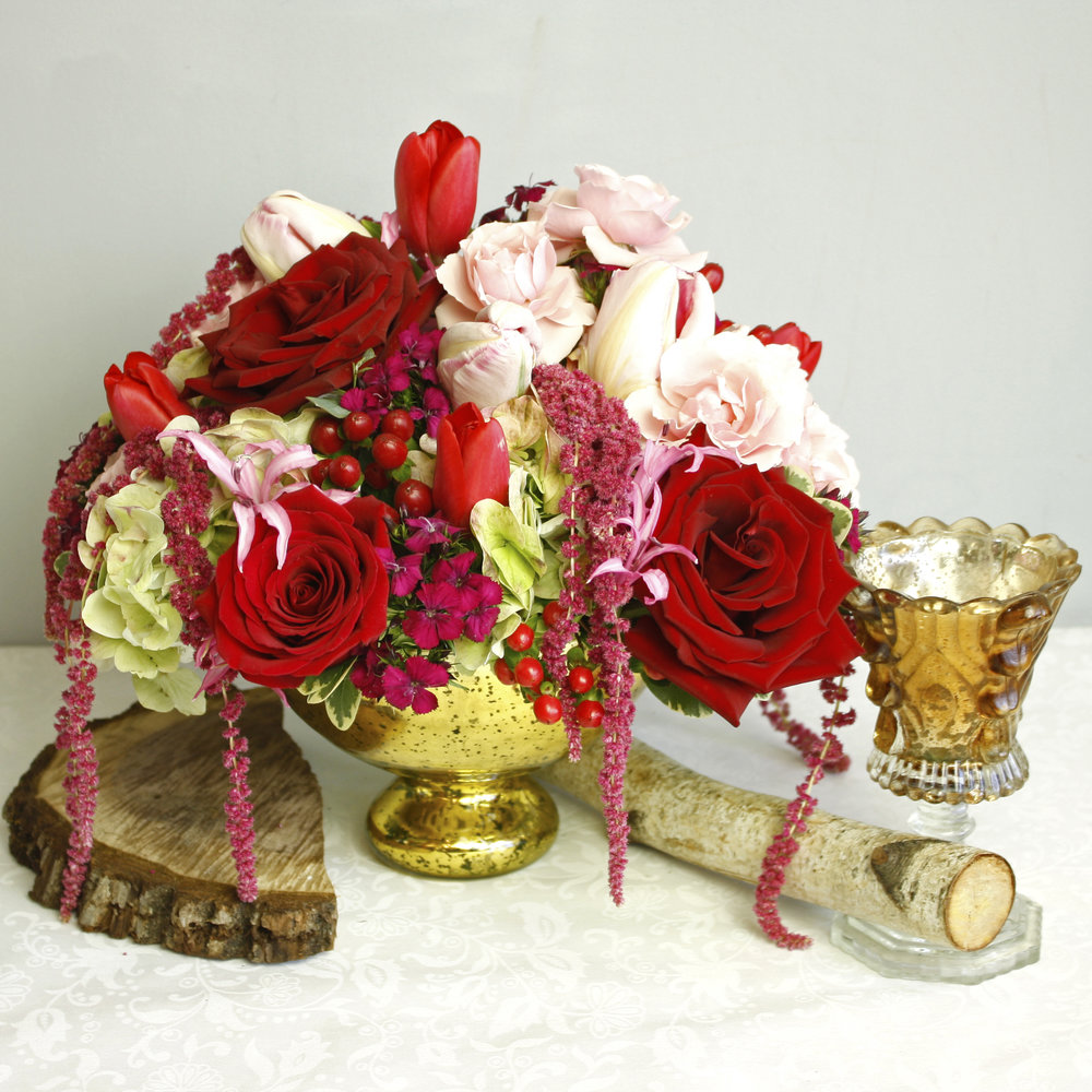 Love's Eve - elegant gold mercury bowl full of lush flowers. A great Valentine's Day gift, plus a vase to cherish for life!