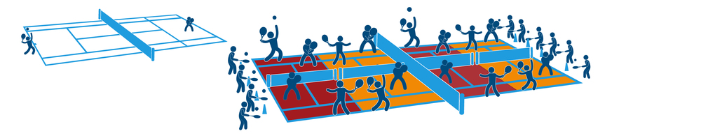 Fig. 11 With some creative thinking, a 78-foot tennis court can be divided into smaller playing spaces, maximizing the amount of people who can participate. (Courtesy of Aspen Institute Project Play) [Citation]