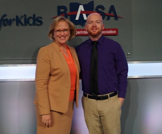 dr. karen k. garza, battelle for Kids' president and ceo, with antony dunlap from crooksville schools.