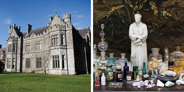 From left: the neo-Gothic facade of Gurteen Castle, originally built for Count Edmond de la Poer; in front of a French 18th-century tapestry, a marble statue of Dante Alighieri presides over Gottfried's collection of pharmaceutical and alchemical artifacts 2014, Kenneth O Halloran