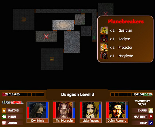 Exploration in Monsters' Den. As you move, neighbouring rooms are revealed with an icon for the contents.