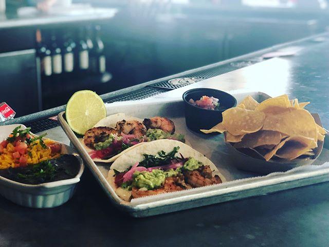 Today's tacos: Grilled shrimp Jalapeño creama Pickles onion Fresno chili Guacamole