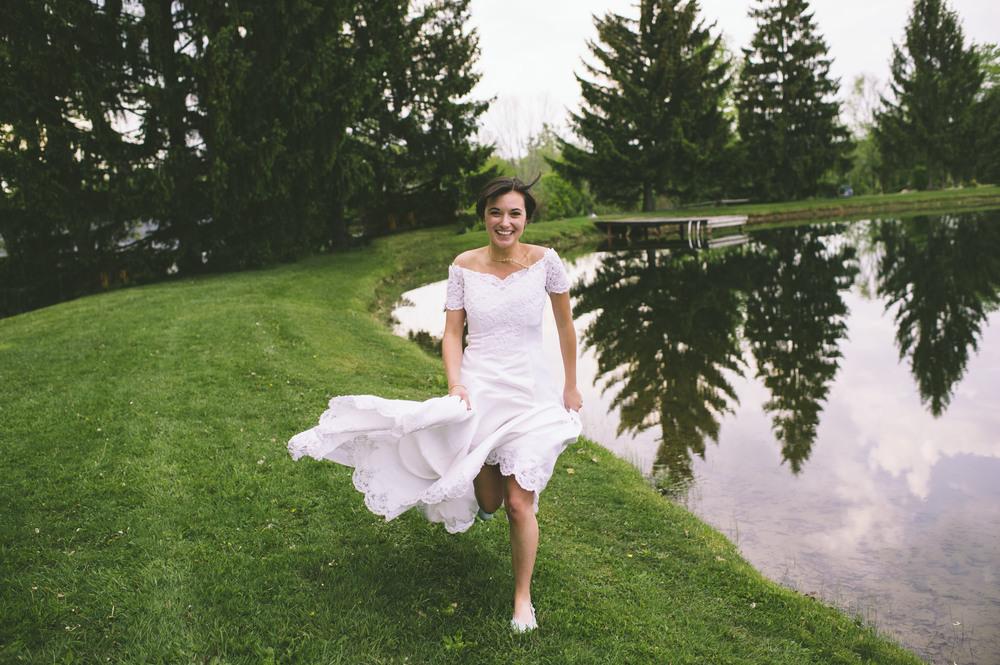 Bride running