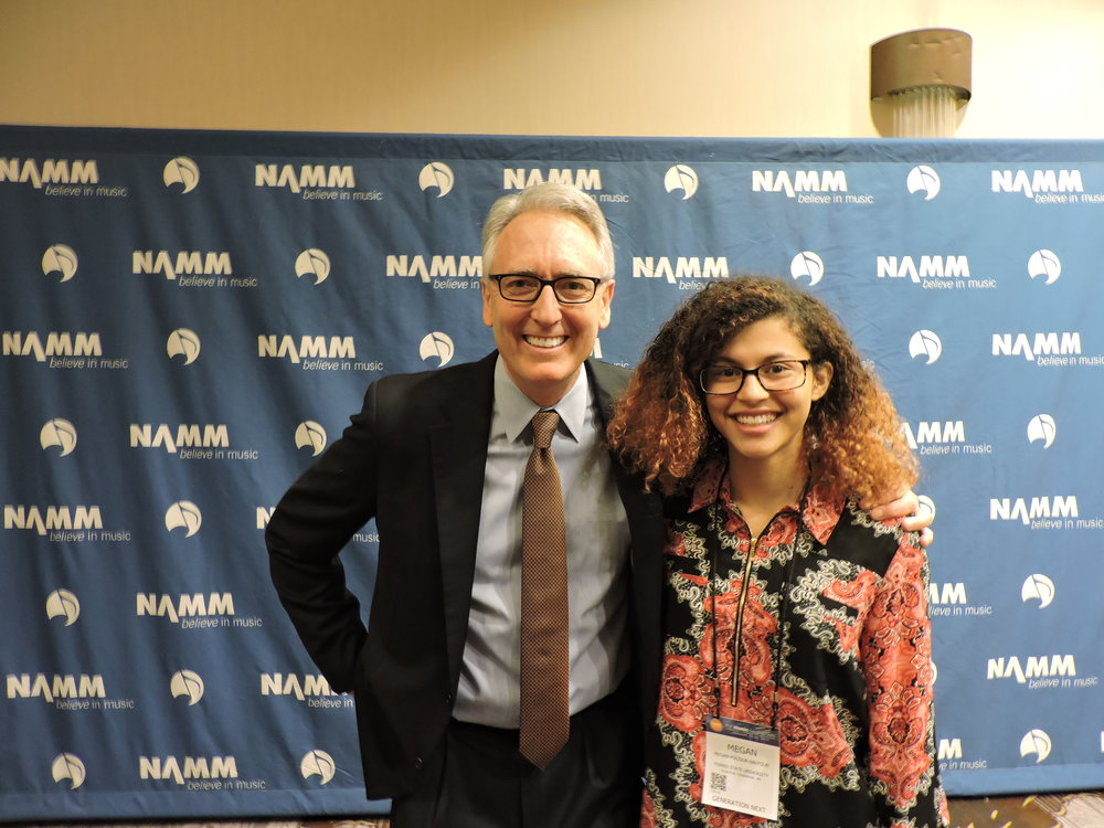 Ferris mim senior Megan Polisuk-Balfour with NAMM President and CEO Joe Lamond
