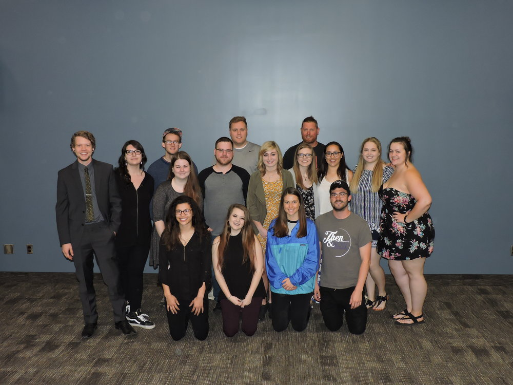 From left to right: Tyler Pickard, Brooke Windsor, Shawn White, Alexanna McKessy, Meg P. Balfour, Nick Graham, Kayleigh Werthmann, Jake Kiliszewski, Leah Gosztyla, Alex Kamp, Miranda Vandelier, Justin O'Donoghue, Don Hildebrant, Morgan Radners, Emily Seng, & Kari Bosen Not pictured: Dan Amrhein, Kat Cody, & Zachary Kidder