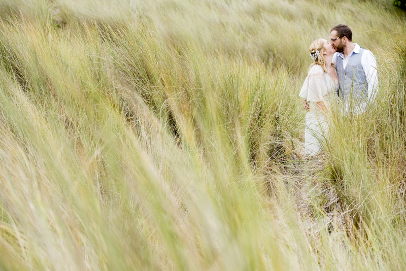 Sennen Cove sand dunes bride and groom