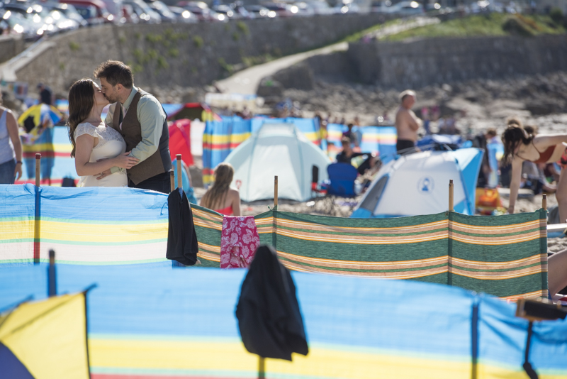 Windbreaks and wedding at Sennen cove Cornwall