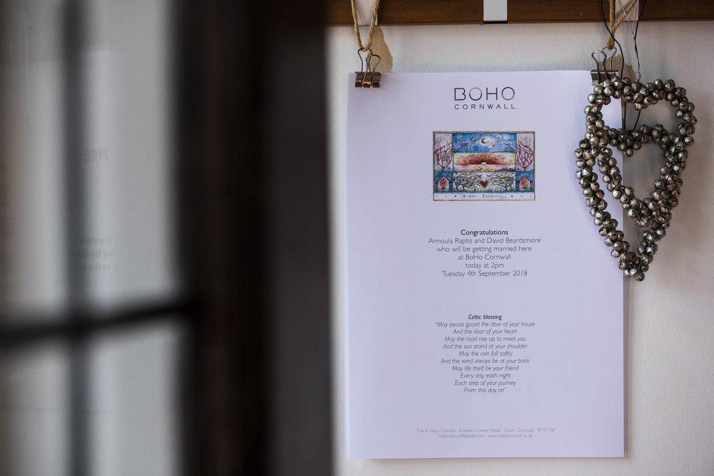 boho cornwall wedding notice