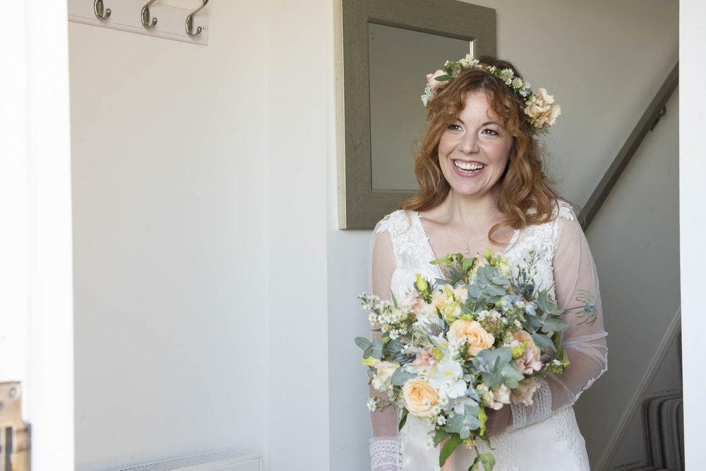 beautiful  bride at boho cornwall