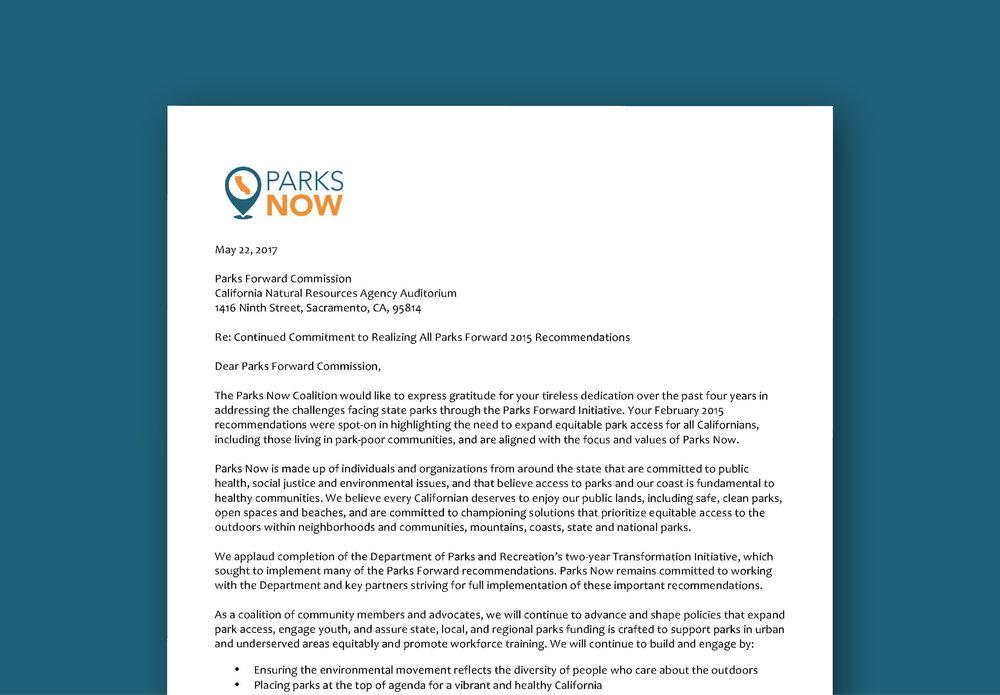 Parks Forward Letter -