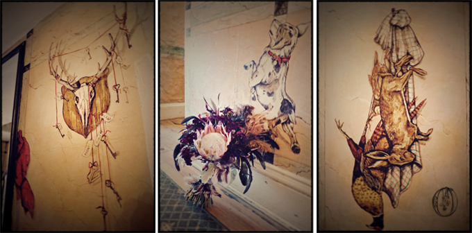 Black-Bass-Historic-Taxidermy-Murals-Halloween-Bridal-Bouquet-Oleander-Bucks-County-Wedding-Event-Florist