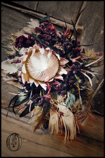 Dark-Gothic-Protea-Black-Cosmos-Halloween-Black-Bass-Bridal-Bouquet-Bucks-County-Wedding-Florist
