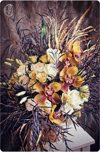 Brown-Cymbidium-Orchid-Metallic-Gold-Organic-Floral-Arrangement-Oleander-NJ-Bucks-County-PA-Wedding-Florist