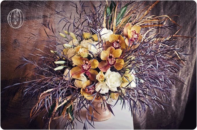 Brown-Orange-Gold-Burgandy-Cymbidium-Orchid-Rose-Avant-Garde-Organic-Floral-Arrangement-Oleander-Bucks-County-Wedding-Florist