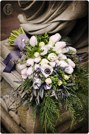 Holly-Hedge-Estate-Historic-Inn-Stone-Barn-Winter-January-Anemone-Tulip-Evergreen-Gray-Bridal-Bouquet-Bucks-County-PA-Wedding-Florist