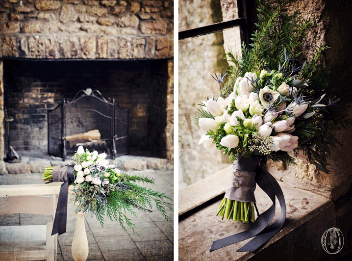 Holly-Hedge-Estate-Historic-Inn-Stone-Fireplace-Winter-White-Grey-Anemone-Wool-Bridal-Bouquet-Oleander-Bucks-County-PA-Wedding-Florist