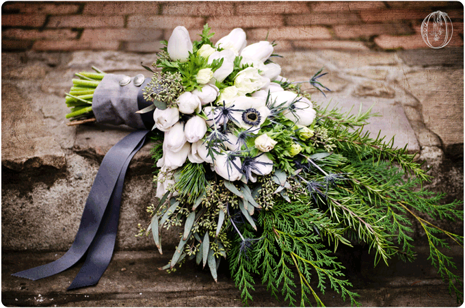 Holly-Hedge-Estate-Historic-Inn-Vintage-Wedding-Venue-Winter-White-Grey-Anemone-Tulip-Thistle-Evergreen-Silver-Button-Bridal-Bouquet-Oleander-Bucks-County-PA-Wedding-Florist