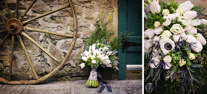 Holly-Hedge-Estate-Historic-Stone-Barn-Anemone-White-Tulip-Thistle-Bridal-Bouquet-Oleander-Bucks-County-PA-Wedding-Florist
