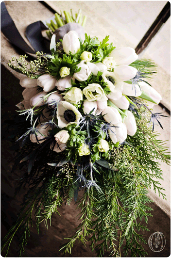 Holly-Hedge-Estate-Historic-Stone-Barn-Winter-White-Anemone-Tulip-Rosemary-Evergreen-Bridal-Bouquet-Oleander-Bucks-County-PA-Wedding-Florist