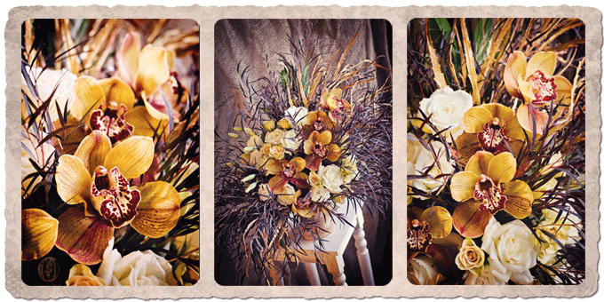 Orange-Gold-Bronze-Cymbidium-Orchid-Loose-Organic-Floral-Arrangement-Oleander-NJ-Bucks-County-PA-Wedding-Florist