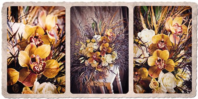 Orange-Gold-Bronze-Cymbidium-Orchid-Loose-Organic-Floral-Arrangement-Oleander-NJ-Bucks-County-PA-Wedding-Florist