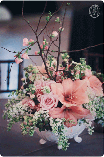 Holly-Hedge-Estate-Spring-Vintage-Peach-Coral-Amaryllis-Berry-Quince-Branch-Milk-Glass-Centerpiece-Oleander-New-Jersey-Bucks-County-Wedding-Florist-Floral-Design