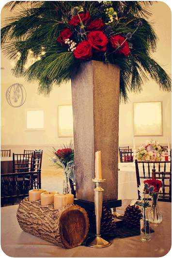 Holly-Hedge-Estate-Winter-Rustic-Concrete-Evergreen-Garden-Rose-Wood-Centerpiece-Oleander-New-Jersey-Bucks-County-Wedding-Florist-Floral-Design