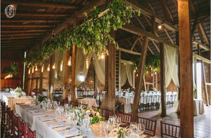 Hanging-Edison-Light-Suspended-Olive-Branch-Floral-Chandelier-Antique-Door-Ceremony-Vintage-Rustic-Barn-Wedding-Organic-Farm-Wedding-Anthropologie-Wedding-Rodale-Institute-PA-Lauren-Fair-Oleander-Bucks-County-PA-NJ-Wedding-Florist-Floral-Design-Events