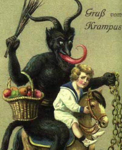 Article: Krumpus: Santa's Evil Sidekick - Like Santa, Krampus carries a satchel, but instead of filling it with presents, he stuffs it with children who have been especially bratty...