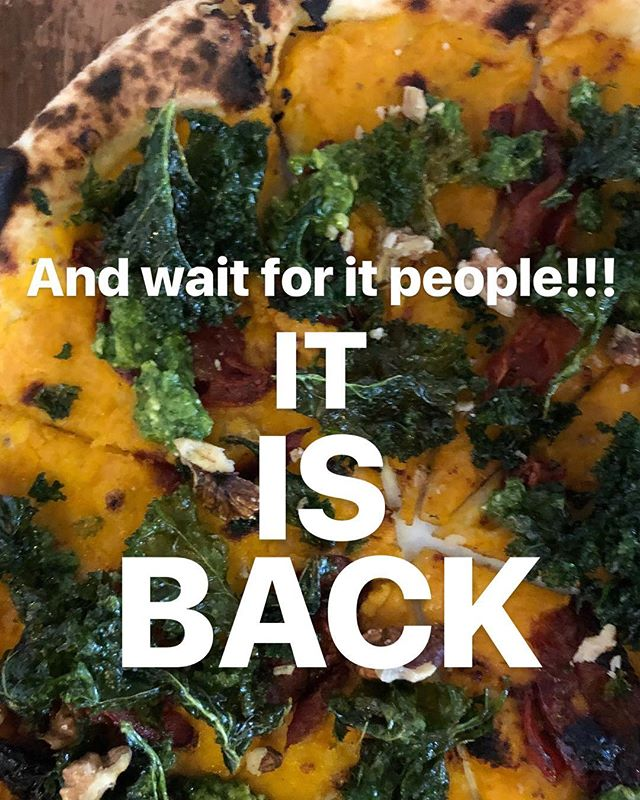 Yes! Tonight is the night!! New menu is full of delight (have a squizz in our stories to see more) and the most anticipated return to form is the #neverforgotten VEGAN pizza with pumpkin, rocket pesto, crispy cavolo nero and walnuts. Be excited. Be happy. See you later! #newmenu #tonightisthenight #hackneyrestaurant #londonfood #londoneats #londonist