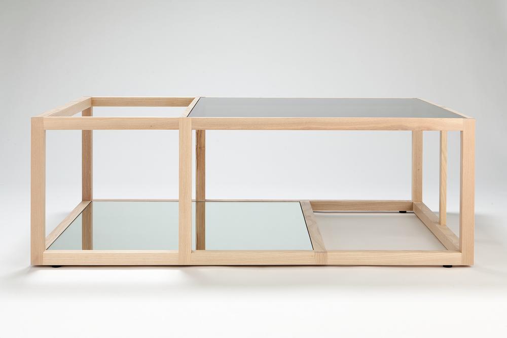 Design: Dan Anderson & Chris Held Material: white ash, skyscraper glass, mirror Size: 45 x 30 x 15 in. Year: 2012 edition of 3
