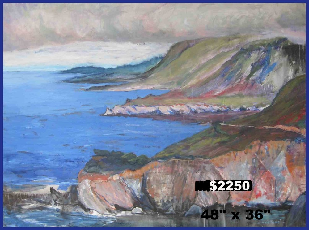 "Northward from Big Sur  - 36"" x 48""   oil   $2250"