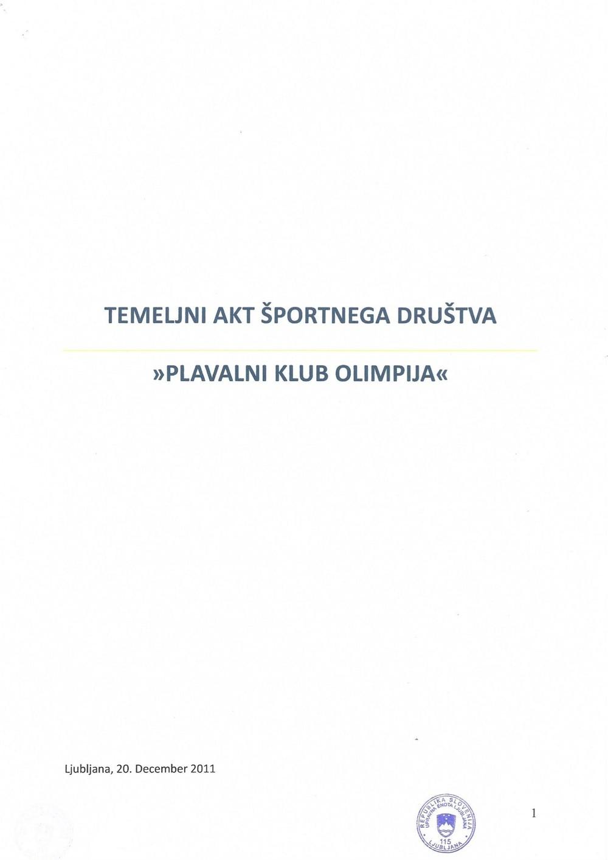 "Temeljni akt športnega društva ""Plavalni klub Olimpija"", dec 2011"