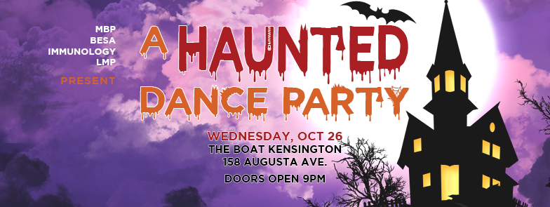 • Free admission to FacMed students • Prizes for best solo and group costumes • $2 coat check • Cash bar • FREE DRINK for the first 50 people with entrance • Live DJ (TBA) ------------------------------------------------------------------------------------- No, it's not PSL season. It's haunting season. The Departments of MBP, IBBME, Immunology, and LMP are bringing you a Halloween dance party that you'll never forget -- or rather, if you do it right, you will. Yes yes, we know it's a Wednesday, but we like to see it as more of a HalloWEEK than Halloween. Cut holes in your bedsheets, dust off your brooms, and join your fellow FacMed students on the cobweb-filled dance floor. Drink to your heart's content, stay out late, and maybe you'll meet the Great Pumpkin with Charlie Brown.  Get creative with your costumes! We'll be snapping photos and hosting a costume contest all night long. We're looking for the best/cleverest solo and group costumes, so dress to impress. For any grad students trying to plan out their Halloweekend budget, the following are prices at the bar (tax incl.): - $5 shots of bar rails - $5 domestic beers (Molson, Budweiser, Coors Light) - $6 mixed drinks - $6 craft beers and imports - $7 tall cans Happy haunting!